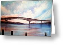 Newburgh Beacon Bridge Sky  Greeting Card by Janine Riley