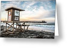 Newport Beach Pier And Lifeguard Tower 22 Photo Greeting Card by Paul Velgos