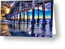 Newport Beach Pier - Low Tide Greeting Card by Jim Carrell
