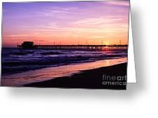 Newport Beach Pier Sunset In Orange County California Greeting Card by Paul Velgos