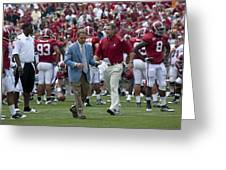 Nick Saban And The Tide Greeting Card by Mountain Dreams