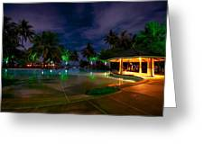 Night At Tropical Resort 1 Greeting Card by Jenny Rainbow