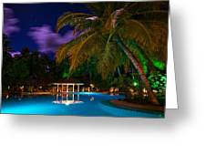 Night At Tropical Resort Greeting Card by Jenny Rainbow