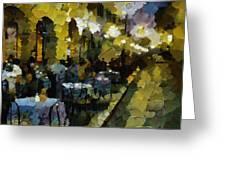 Night Cafe Greeting Card by Dragica  Micki Fortuna