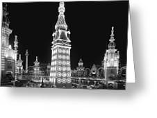 Night In Luna Park Greeting Card by Nomad Art And  Design
