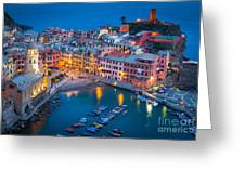 Night In Vernazza Greeting Card by Inge Johnsson