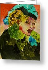 Night Lady Ruby Greeting Card by Carole Johnson
