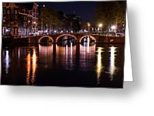 Night Lights On The Amsterdam Canals 4. Holland Greeting Card by Jenny Rainbow