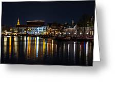 Night Lights On The Amsterdam Canals 6. Holland Greeting Card by Jenny Rainbow