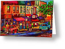 Night Riders On The Boulevard Rue St Laurent And Napoleon Deli Schwartz Montreal Midnight City Scene Greeting Card by Carole Spandau