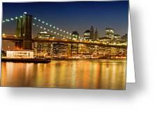 Night-skyline New York City Greeting Card by Melanie Viola