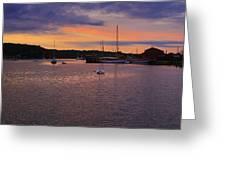 Nightfall On Mystic River 1 Greeting Card by John Hoey