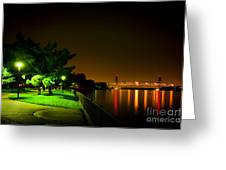 Nightime Promenade Greeting Card by Olivier Le Queinec