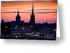 Nightsky Over Stockholm Greeting Card by Inge Johnsson