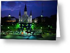 Nighttime Over Jackson Square In New Orleans Greeting Card by Mountain Dreams