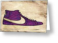 Nike Blazers Purple Greeting Card by Alfie Borg