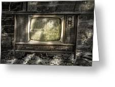 No One's Watching - Vintage Television in an old barn Greeting Card by Gary Heller