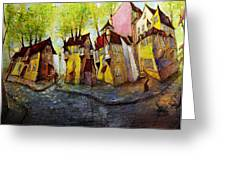 Nobody Knows That My House Flies Greeting Card by Oleg  Poberezhnyi