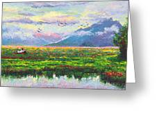 Nomad - Alaska Landscape With Joe Redington's Boat In Knik Alaska Greeting Card by Talya Johnson