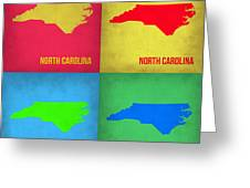 North Carolina Pop Art Map 1 Greeting Card by Naxart Studio