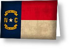 North Carolina State Flag Art On Worn Canvas Greeting Card by Design Turnpike