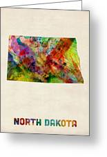 North Dakota Watercolor Map Greeting Card by Michael Tompsett