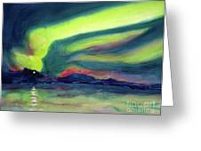 Northern Lights On Superior Shores Greeting Card by Kathy Braud