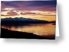 Norwegian Fjordland Sunset Greeting Card by David Broome