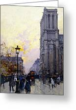 Notre Dame De Paris Greeting Card by Eugene Galien-Laloue