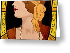 Nouveau Girl Greeting Card by Troy Brown