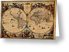 Nova Totius Terrarum Orbis Geographica Ac Hydrographica Tabula Old World Map Greeting Card by Inspired Nature Photography By Shelley Myke