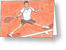 Novak Djokovic Sliding On Clay Greeting Card by Steven White