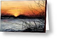 November Sunset Greeting Card by Barbara Jewell