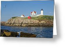 Nubble In The Day 16x20 Greeting Card by Geoffrey Bolte