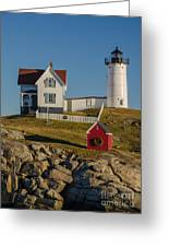 Nubble Light At Christmas Greeting Card by Pat Lucas