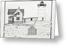 Nubble Light Greeting Card by Ira Shander