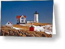 Nubble Lighthouse 3 Greeting Card by Joann Vitali