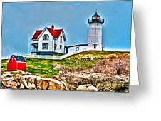 Nubble Lighthouse Cape Neddick Maine 2 Greeting Card by Glenn Gordon