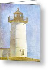 Nubble Lighthouse Greeting Card by Carol Leigh