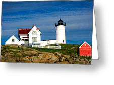Nubble Lighthouse Greeting Card by Charles Dobbs