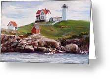 Nubble Lighthouse in Pastel Greeting Card by Jack Skinner