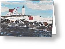 Nubble Lighthouse Greeting Card by Sally Rice