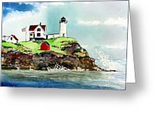 Nubble Lighthouse Greeting Card by Tom Riggs