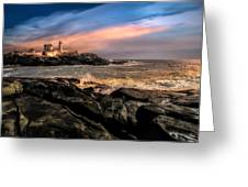 Nubble Lighthouse Winter Solstice Sunset Greeting Card by Bob Orsillo