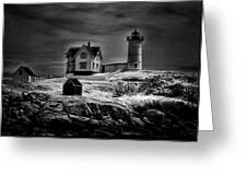 Nubble Night Greeting Card by Tricia Marchlik