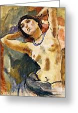 Nude Brunette With Blue Necklace Nu La Brune Au Collier Bleu Greeting Card by Jules Pascin