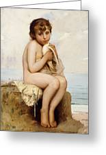 Nude Child With Dove Greeting Card by Leon Bazile Perrault