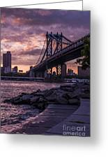 Nyc- Manhatten Bridge At Night Greeting Card by Hannes Cmarits