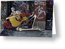 Nyc Skeleton Player Greeting Card by Gary Kroman