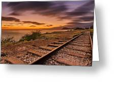 Oahu Rail Road Track Sunset Greeting Card by Tin Lung Chao